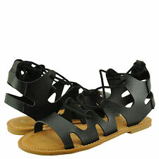 Women's Shoes Bamboo Bayside 13S Caged Lace Up Flat Sandal Black *New*