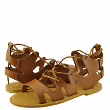 Women's Shoes Bamboo Bayside 13S Caged Lace Up Flat Sandal Tan *New*