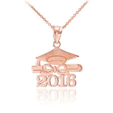 "14k Solid Rose Gold ""CLASS OF 2016"" Graduation Hat Diploma Pendant Necklace"