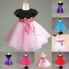 Luxury Summer Kid Girl Princess Bowknot Wedding Party Pageant Tulle Dress Skirt