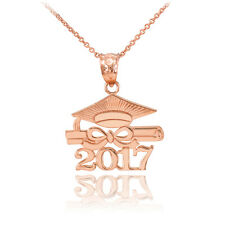 "14k Solid Rose Gold ""CLASS OF 2017"" Graduation Hat Diploma Pendant Necklace"