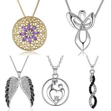 Chic Women Tree Wing Flower Crystal White Gold Plated Chain Necklace Pendant New