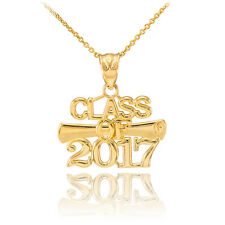 14k Gold 'CLASS OF 2017' Graduation Charm Pendant Necklace
