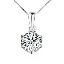 S925 Sterling Silver Classic 6-claw Cubic Zirconia Pendant W/ or W/O Chain