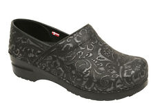 Women's Sanita Danish Clogs Professional Gwenore Embossed Leather Silver Black