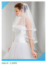 New 2T White Ivory Handmade Wedding Prom Bridal Elbow Veil Lace Edge With Comb