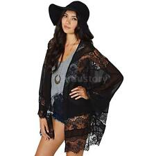 Vintage Women's Floral Lace Kimono Chiffon Cardigan Loose Blouse Cover Up Y2G3