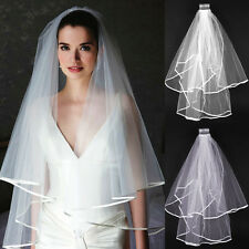 2T White/Ivory Wedding Bridal Veil Satin Edge Comb Elbow Simple Cathedral