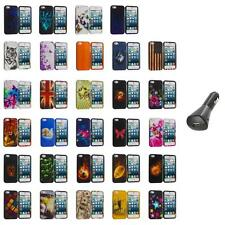 For iPhone 5S 5 5G Hard Snap-On Design Rubberized Case Cover Skin+Car Charger