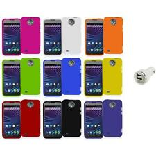 For ZTE Sprint Vital N9810 Hard Snap-On Rubberized Case Cover+Dual Charger