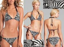$156 Trina Turk Tanzania Zebra Triangle Top & Tie Side Bottom Fringed Bikini Set