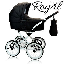 LEATHER ROYAL 3in1 RETRO CLASSIC PRAM PUSHCHAIR CAR SEAT TRAVEL SYSTEM 3 COLOURS