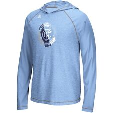 adidas New York City FC MLS 2016 Soccer Climalite Lightweight Hooded Shirt Blue