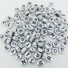 100 4x7mm A-Z Acrylic Individual Alphabet Letter Coin Round Flat Spacer Beads Z9