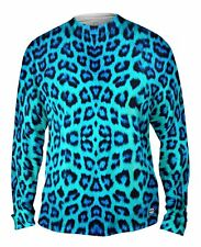 Yizzam- Neon Blue Leopard Animal Skin - New Mens Long Sleeve Tee Shirt XS S M L