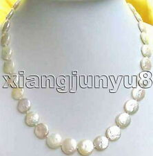 "SALE Big 13-14mm WHITE COIN Round Natural freshwater PEARL 17"" NECKLACE-nec0201"