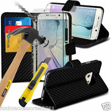 Leather Wallet Book Stand Phone Case Cover✔Glass Screen Protector for Samsung