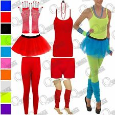 GIRLS WOMENS TUTU FANCY DRESS SKIRT HOT PANT VEST TOP GLOVE BEAD LEG WARMER NEON