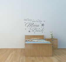 We love you to the moon & back Wall Art Sticker Nursery Children's bedroom