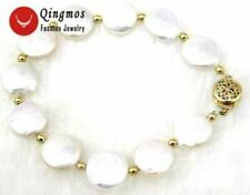 """SALE Big 10-11MM White Coin Round Natural Freshwater Pearl 7.5"""" Bracelet -b137"""