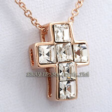 A1-P432 Fashion Rhinestone Cross Necklace Pendant 18KGP Crystal