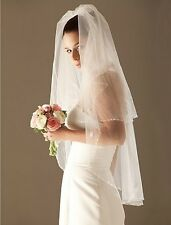 Multi-style 2T White/Ivory bridal wrist length wedding  beaded/embroidered veil