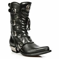 Newrock New Rock 7993-C2 Ladies Black Leather Buckle Goth Lace High Zip Boots