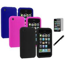 Color Silicone Rubber Gel Cover Case+LCD Film+Stylus for Apple iPhone 3G 3GS