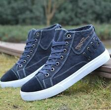 Fashion mens denim canvas flat high top lace up breathable casual sneaker shoes