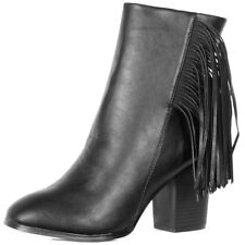 Ladies Tassel Fringe Chunky Block Heel Chelsea Ankle Boots Shoes Size  Womens