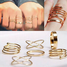 Unique Ring Set Punk Alloy Knuckle Rings for Womens Finger Ring 6 PCS Rings