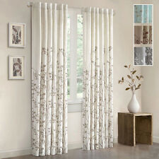 Floral Window Curtain Panel 84 Inch Rod Pocket Curtains Tiebacks Leaves Drapery