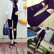Casual High Waist Skinny Pencil Pants Slim Denim Jeans Holes Ripped Jeans