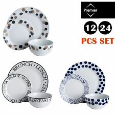 12/24 PCS DINNER SET Porcelain Kitchen Serving Plates Bowls Set Pattern White