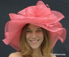 NEW Womens Triple Crown Kentucky Derby Hat Spring Sinamay Straw Pink Natural