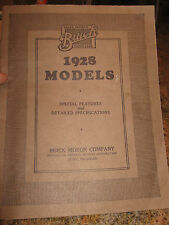 1928 BUICK REFERENCE BOOK ORIGINAL 1928 MODELS SPECIAL FEATURES ANNOUNCING 1928