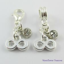 Infinity Charm with Rhinestone Dangle Select European Bail or Clip on Clasp