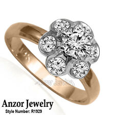 Russian Style Platinum and 18k Rose Gold Diamond Ring #R1929