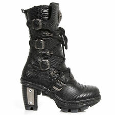 New Rock NEOTR005-S19 Raw Python Black Gothic Rock Punk Ladies Leather Boots