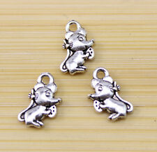 30/60/100 pcs Very lovely Tibetan silver mice charm pendant  12x8 mm