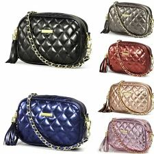 Designer Ladies Faux Leather Quilted Shoulder Bag Cross Body Messenger Handbag