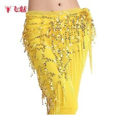Belly Dance Netting Sequins Wrap Belt Hip Scarf Skirt Costume