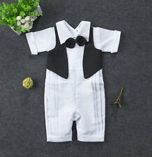Baby Boy Wedding Christening Formal Tuxedo Suit Outfits Clothes NEWBORN 0-24M
