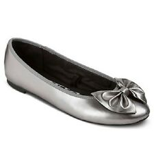 Sam and Libby Chelsea Pewter (Silver) Womens Bow Ballet Flats Size 6, 7 NWT NWOB