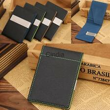 Luxury Mens Pu Leather Slim Wallet with Metal Money Clip Credit Card ID Case