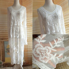 Vtg Boho Sheer Top Crochet Lace Embroieery Beach Wedding Party Dress Long Skirt