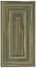 """Capel Rugs """"Bangor"""" Concentric Wool Country Cottage Braided Rug Sage Green #200"""
