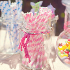 Colorful Striped Biodegradable Paper Drinking Straws Birthday Wedding Party
