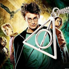 Harry Potter Deathly Hallows Charms Pendants Triangle Long Chain Necklace NEW