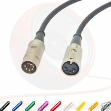 MIDI Extension Cable 5 Pin Din Lead. Male to Female. Plug Socket. Phantom Power
